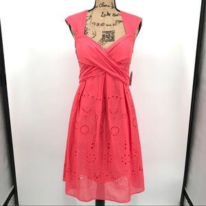 Jessica Simpson coral eyelet fit & flare dress